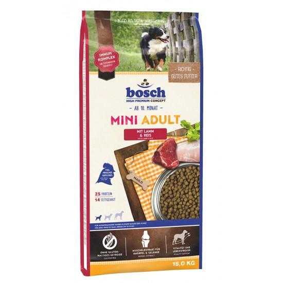 Bosch Mini Adult ar jēra gaļu un rīsiem pieaugušiem mazo šķirņu suņiem, 15 kg