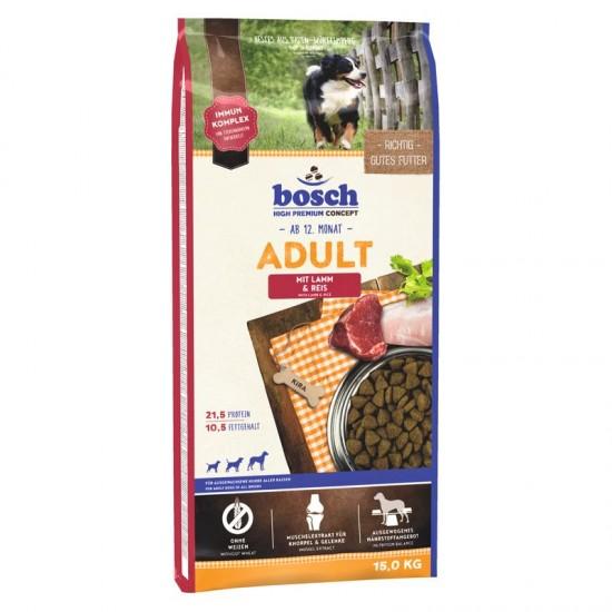 Bosch Adult Lamb&Rice 15kg Pilnvērtīga sausā barība ar jēra gaļu visu šķirņu pieaugušiem suņiem.