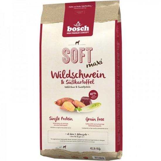 Bosch Soft Maxi GRAIN FREE ar mežacūkas gaļu un saldiem kartupeļiem pusmitra barība, 12.5 kg