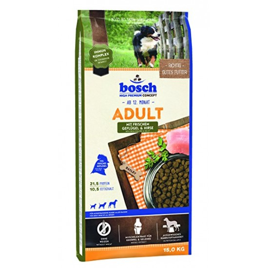 Bosch Adult Geflügel and Hirse Pilnvērtīga sausā barība ar putna gaļu visu šķirņu pieaugušiem suņiem, 15 kg