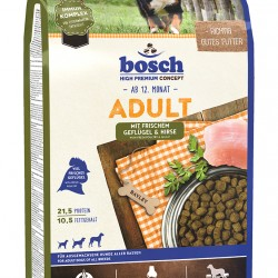 Bosch Adult Geflügel and Hirse Pilnvērtīga sausā barība ar putna gaļu visu šķirņu pieaugušiem suņiem.  ar vistas gaļu un prosu 3kg