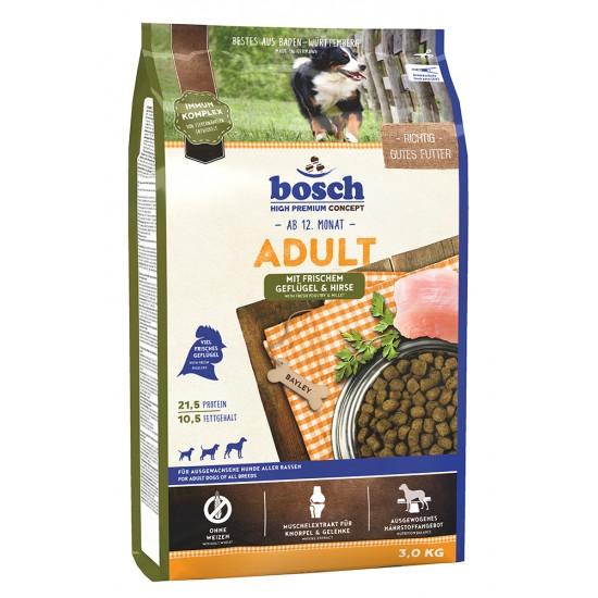 Bosch Adult Geflügel and Hirse Pilnvērtīga sausā barība ar putna gaļu visu šķirņu pieaugušiem suņiem.  ar vistas gaļu un prosu, 3 kg