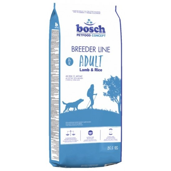 Bosch Breeder Line Lamb & Rice 20kg Sausais barība ar jēra gaļu un rīsiem pieaugušajiem visu šķirņu suņiem
