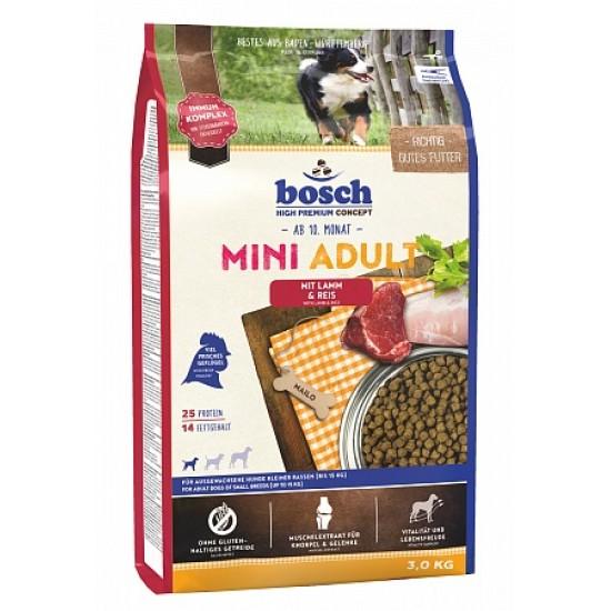 Bosch Mini Adult ar jēra gaļu un rīsiem pieaugušiem mazo šķirņu suņiem, 3 kg