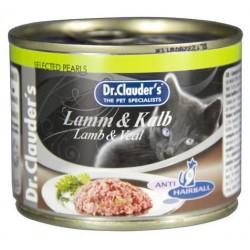 Dr.Clauders konservi kaķiem ar jēra un teļa gaļu 200gr(Antihairball)