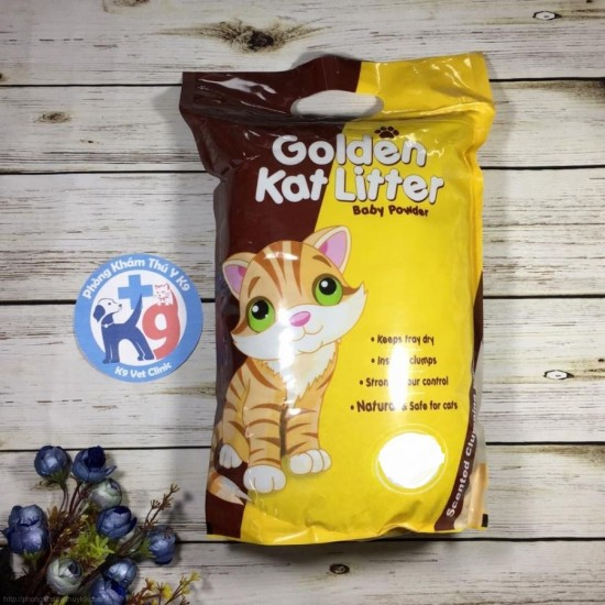 Golden Cat Litter Baby Powder 10kg Cementējošās smiltis kaķu tualetēm ar bērnu pūderi