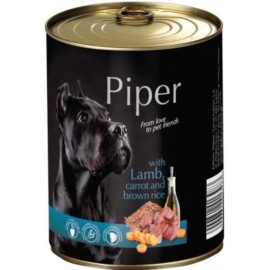 Konservi suņiem Piper ar  Jēra gaļu, burkāniem, brūniem rīsiem 800g