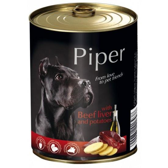 Konservi suņiem Piper ar  Liellopu gaļu, aknam un kartupeļiem 800gr
