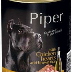 Konservi suņiem PIPER ar vistas sirdi un brūniem rīsiem, 800 g