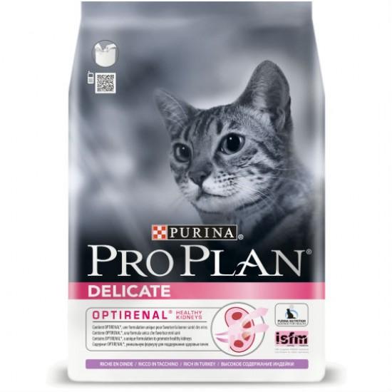 Pro Plan Delicate 10kg sausā barība jūtīgiem kaķiem ar tītara gaļu un rīsiem.